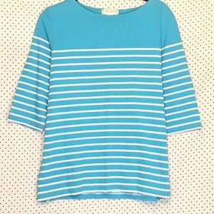 Chaus Large Top Blue White Striped Elbow Sleeve